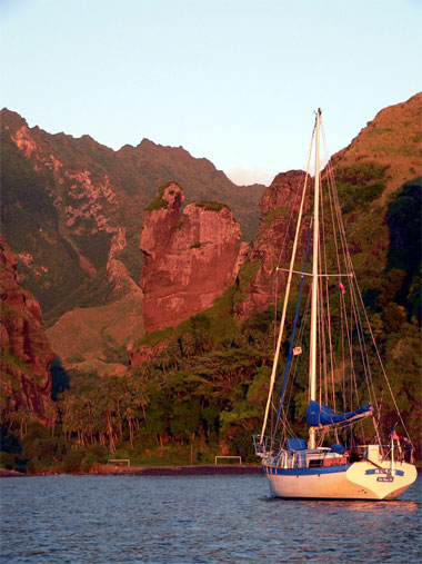 Moana at anchor in the Bay of Virgins, Fatu Hiva