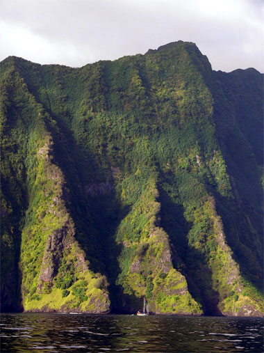 cliffs approaching Fatu Hiva